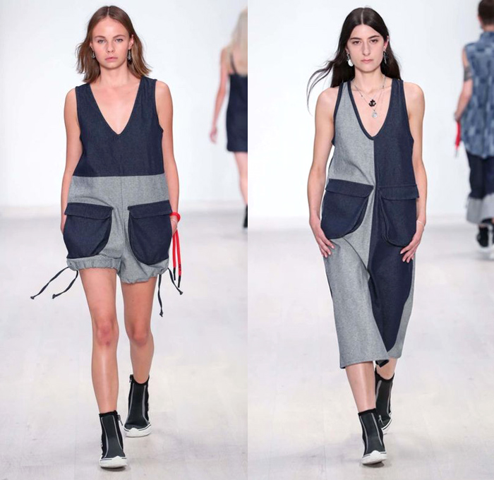 Vale Denim 2018 Resort Cruise Pre-Spring Womens Runway Catwalk Looks Collection - Mercedes-Benz Fashion Week Sydney Australia - Denim Jeans Shorts Cutoffs Skirt Frock Patchwork Combishorts Romper Onesie Jumpsuit Coveralls Bib Brace Dungarees Playsuit Drawstring Colorblock Blouse Long Sleeve Shirt Half Panel Outerwear Anorak Nautical Sailor Shirtdress Pinafore Dress Sleeveless Strapless Rope Strap Wide Leg Trousers Palazzo Pants Culottes Engineer Railroad Stripes Crop Top Midriff Leg Panel Hi-Tops Sneakers Street Cap