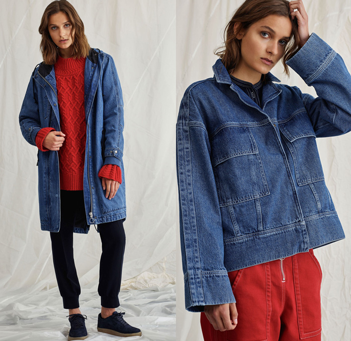 Whistles 2018 Resort Cruise Pre-Spring Womens Lookbook Presentation - Denim Jeans Coat Outerwear Hooded Parka Tuxedo Stripe Frayed Raw Hem Fleece Furry Plush Shearling Blazer Jacket Chunky Knit Sweater Jumper Ribbed Long Sleeve Blouse Poplin Shirt Onesie Jumpsuit Coveralls Shirtdress Snap Buttons Tearaway Cropped Pants Trousers Skirt Frock Stripes Birds Dots Boots Sneakers Handbag Tote