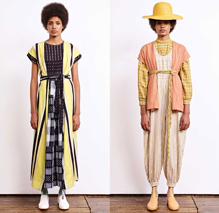 Ace + Jig 2018 Spring Summer Womens Lookbook Presentation - New York Fashion Week NYFW - Outerwear Robe Blouse Strapless Vest Maxi Peasant Countryside Dress Onesie Jumpsuit Coveralls Handweave Dyeing Stripes Linen Layers Tie Up Rope Waist Obi Sash Ornaments Decorative Art Tribal Ethnic Folk Polka Dots Squares Knitwear Plaid Check Wide Leg Trousers Palazzo Pants High Waist Skirt Cargo Pockets Straw Hat Socks Sneakers Neck Scarf