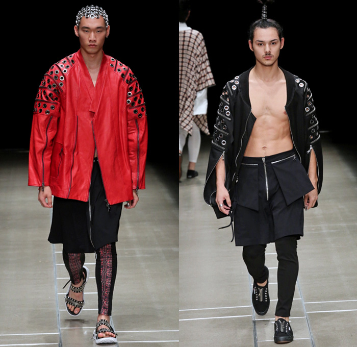 ACUOD by CHANU 2018 Spring Summer Mens Runway Catwalk Looks - Amazon Fashion Week Tokyo Japan AmazonFWT - Grunge Zippers Grommets Eyelets Outerwear Coat Kimono Motorcycle Biker Bomber Jacket Soutane Missionary Collar Hood Sweatshirt Striped Panels Shirtdress Caftan Leggings Shorts Manskirt Kilt Cargo Pockets Decorative Bedazzled Metallic Studs Brocade Jacquard Silk Satin Sheen Tulle Kanji Sandals Sneakers Boots