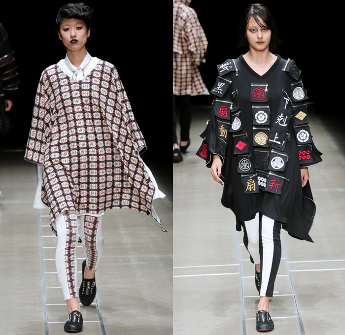 ACUOD by CHANU 2018 Spring Summer Womens Runway Catwalk Looks - Amazon Fashion Week Tokyo Japan AmazonFWT - Grunge Zippers Grommets Eyelets Outerwear Coat Kimono Motorcycle Biker Bomber Jacket Soutane Missionary Collar Hood Sweatshirt Striped Panels Shirtdress Caftan Leggings Shorts Manskirt Kilt Cargo Pockets Decorative Bedazzled Metallic Studs Brocade Jacquard Silk Satin Sheen Tulle Kanji Sandals Sneakers Boots