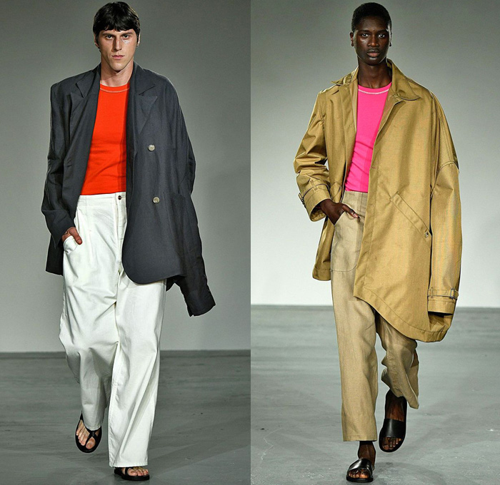 Alex Mullins 2018 Spring Summer Mens Runway Catwalk Looks - London Fashion Week Mens British Fashion Council UK United Kingdom - Denim Jeans Wide Leg Slouchy Loose Baggy Asymmetrical Waistband Trucker Jacket Oversized Outerwear Coat Blazer Long Sleeve Shirt Elongated Sleeve Sweater Jumper Sleeveless Vest Poncho Cloak Blanket Flowers Floral Botanical Print Graphic Patchwork Frayed Raw Hem Photograph Arms Sheer Voile Muslin Mesh Fishnet Warped Street Art Abstract Sandals Face Wrap Bandanna Tote Handbag Sunglasses Fanny Pack Waist Pouch Belt Bag
