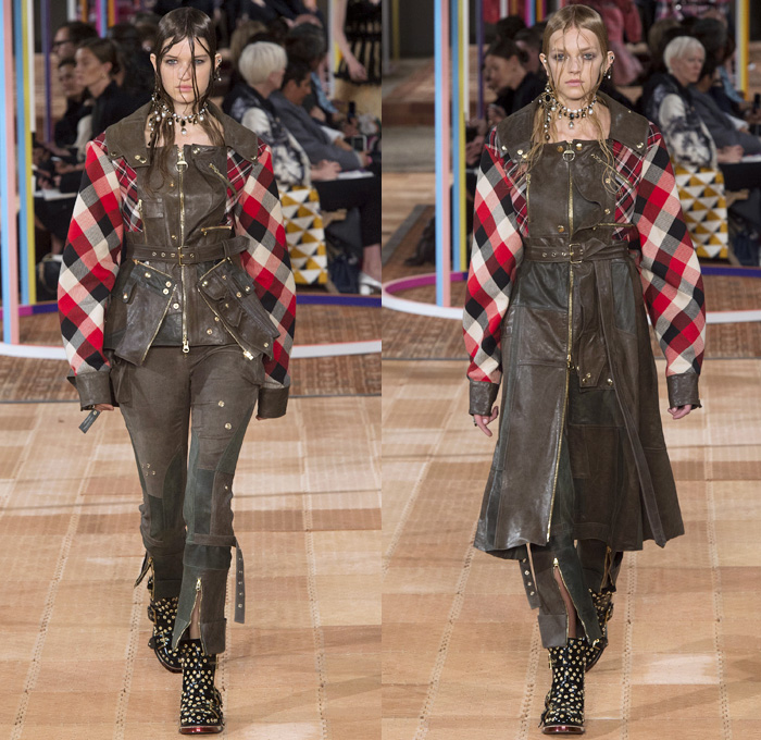 Alexander McQueen 2018 Spring Summer Womens Runway Catwalk Looks - Mode à Paris Fashion Week France - Denim Jeans Detachable Panels Buttons Skirt Trench Coat Motorcycle Biker Leather Jacket Zippers Crop Top Midriff Quilted Pantsuit Leg O'Mutton Sleeves Capelet One Shoulder Knit Sweater Basketweave 3D Flowers Floral Sheer Chiffon Organza Tulle Mesh Grid Plaid Bedazzled Tutu Maxi Dress Dress Gown Eveningwear Ruffles Tiered Noodle Strap Lace Fringes Feathers Gemstones Studs Boots Handbag