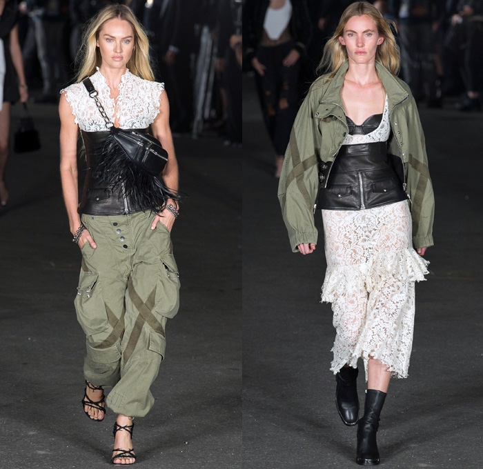 Alexander Wang 2018 Spring Summer Womens Runway Catwalk Looks - New York Fashion Week NYFW - Deconstructed Denim Destroyed Jeans Hybrid Cutoffs Shorts Pants Combo Lingerie Bralette Blouse Sweater Trench Coat Bomber Jacket Crop Top Pantsuit Vest Zippers Tie Up Waist Silk Satin Bedazzled Spikes Knit Lace Sheer Chiffon Tulle Bustier Dress Sleepwear Pajamas Fringes Athleisure Jogger Sweatpants Biker Cargo Fatigues Stockings Fishnet Boots Bag Tote Mesh Scarf Necklace Adidas Fanny Pack Waist Pouch