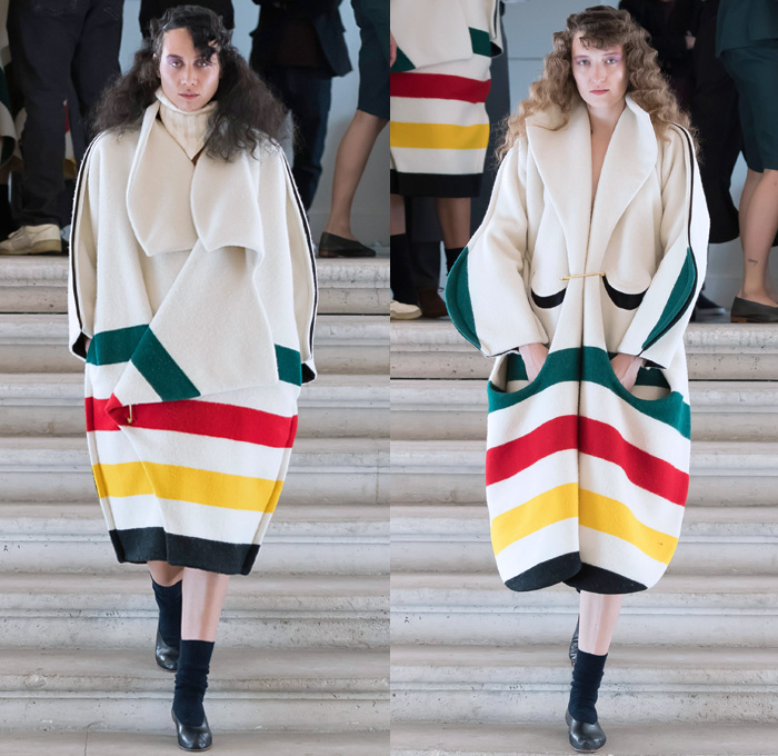 And Re Walker 2018 Spring Summer Womens Runway Catwalk Looks - Mode à Paris Fashion Week Mode Féminin France - Oversized Outerwear Coat Wide Lapel Poncho Cloak Stripes Turtleneck Knitwear Sweater Jumper Fins Curved Pockets Wool Fleece Pussy Pussycat Bow Safety Pin Quilted Waffle Kimono Wrap Wide Sleeves Long Sleeve Blouse Shirt Lace Up Shoe-Shaped Miniskirt Shorts