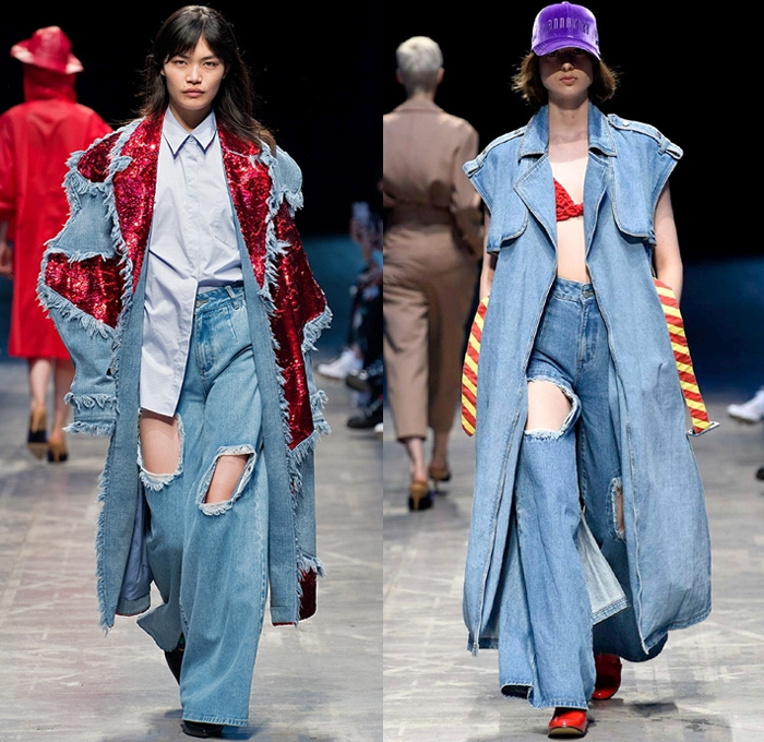 ANNAKIKI 2018 Spring Summer Womens Runway Catwalk Looks - Milano Moda Donna Milan Fashion Week Italy - Phubber Phoneaholic Phoneaholism Cellphone Doodles Pop Art Play Button Icon Denim Jeans Oversized Destroyed Wide Leg Waistcoat Sequins Sheer Tulle Knit Weave Ruffles Mesh Fishnet Straps Velvet Geometric Trench Coat Biker Moto Jacket Raincoat Plastic Blouse Stripes Shirtdress Crop Top Midriff Sweatshirt Shorts Tutu Skirt Trackpants Leggings Fanny Pack Waist Pouch Belt Bag Sunglasses Ankle Boots