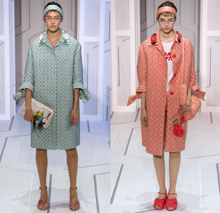 Anya Hindmarch 2018 Spring Summer Womens Runway Catwalk Looks - London Fashion Week Collections United Kingdom - Coat Rainwear Plastic Wide Lapel Sweatshirt Shirtdress Blouse Cutout Shoulders Bell Sleeves Halterneck Collar Hearts Diamonds Rings Embroidery Bedazzled Brocade Jacquard Nerd Geek Grandma Chic Patchwork Flowers Floral Grid Check Maxi Dress Hotpants Hosiery Headband Colored Sunglasses Pillow Puffer Handbag Barrel Canteen Bag Smiley Face Furry Slippers Tote School Shoes Animals