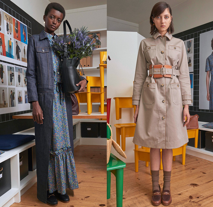 A.P.C. 2018 Spring Summer Womens Lookbook Presentation Atelier de Production et de Creation - Mode à Paris Fashion Week Mode Féminin France - Raw Dry Selvedge Denim Relaxed Tapered Mom Jeans Outerwear Robe Safari Jacket Field Jacket Cargo Pockets Blouse Skirt Frock Wide Bell Sleeves Crop Top Midriff Vest Waistcoat Paint Splatter Droppings Flowers Floral Dress Socks Loafers Purse Sack Tote Bucket Bag Fanny Pack Waist Pouch Belt Bag
