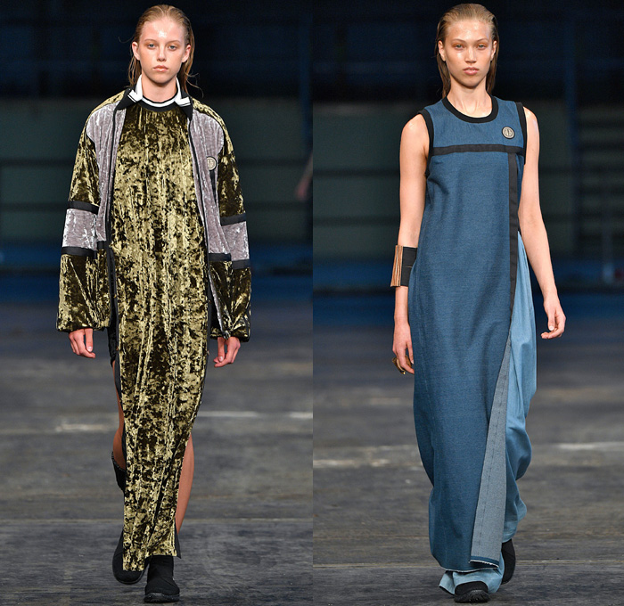 Astrid Andersen 2018 Spring Summer Womens Runway Catwalk Looks - Copenhagen Fashion Week Denmark CPHFW - Denim Jeans Basketball Hoops Safari Racerback Sports Luxe Athletics Athleisure Gym Fitness Activewear Tracksuit Nylon Stripes Plush Fur Outerwear Coat Hooded Sweatshirt Shirtdress Crop Top Midriff Tanktop Silk Satin Flowers Floral Motif Drawstring Stripes Mix Match Mash Up Velvet Lace Embroidery Needlework Maxi Dress Leggings Wide Leg Trousers Palazzo Pants Cargo Pockets Shorts Stocking Socks Flyknits Neck Flaps Field Hat Leg Curtains Warmers Bell Hem Bangles