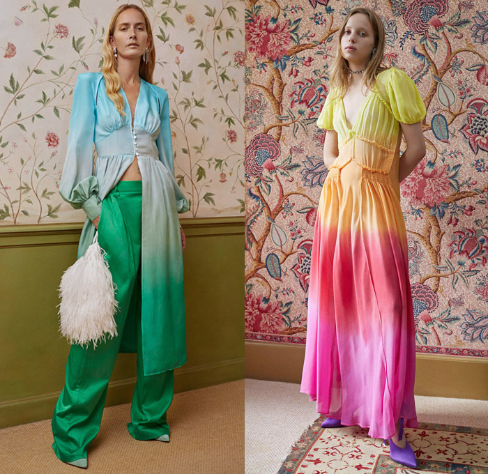 Attico 2018 Spring Summer Womens Lookbook Presentation - Milano Moda Donna Collezione Milan Fashion Week Italy - Art Deco Retro Ombre Gradient Overdyed Silk Satin Fringes Flowers Floral Botanical Polka Dots Asian Dragon Embroidery Adornments Appliqués Bedazzled Sequins Rainbow Waves Stripes Tie Up Knot Ruffles Stars Kimono Robe Maxi Dress Wide Leg Trousers Palazzo Pants Pencil Skirt Blouse One Shoulder Strapless Cutout Waist Handbag Sack Pouch Flats Ballet Shoes Heels Choker