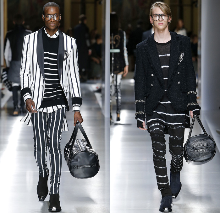 Balmain 2018 Spring Summer Mens Runway Catwalk Looks - Mode à Paris Fashion Week Mode Masculine France - U.S.A. Flag Stars Stripes Western Ornamental Decorative Art Embroidery Embellishments Adornments Decorated Bedazzled Jewels Metallic Studs Chain Hardware Racing Check Basketweave Knit Crochet Mesh Perforated Lasercut Cutout Lace Fringes Trims Threads Rope Braid Suede Tie-Dye Grommet Eyelets Rings Tweed Tweel Outerwear Trench Coat Suit Blazer Kimono Robe Wrap Trenchjacket Quilted Waffle Motorcycle Biker Rider Leather Jacket Sleeveless Vest Waistcoat Long Shirt Mullet Hem Dovetail Sweater Jumper Skinny Slim Pants Trousers Ribbed Knee Panels Zipper Denim Jeans Frayed Raw Hem Destroyed Glasses Boots Dog Tags Gladiator Sandals Duffel Barrel Bag Tote Backpack
