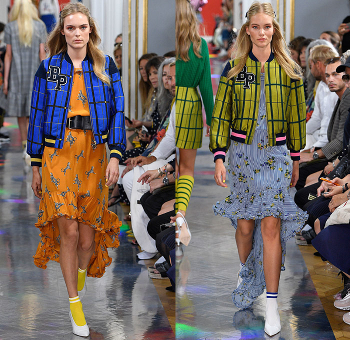 Baum und Pferdgarten 2018 Spring Summer Womens Runway Catwalk Looks - Copenhagen Fashion Week Denmark CPHFW - Silverlake Metallic Lace Embroidery Needlework Dress Long Sleeve Blouse Shirt Check Grid Stripes Sheer Chiffon Organza Ruffles Polka Dots Strapless Open Shoulders Knitwear Flowers Floral Motif Camouflage Outerwear Trench Coat Peacoat Bomber Jacket Cardigan Hood Sweatshirt Bell Sleeves Quilted Waffle Puffer Denim Bell Bottom Mom Jeans Frayed Raw Hem Wide Leg Trousers Palazzo Pants Drawstring Tuxedo Stripe Snap Buttons Tearaway Pants Leggings Dovetail Mullet Hem High-Low Waterfall Skirt Socks Heels Socks Crossbody Bag Leg Warmers Skirt Over Pants