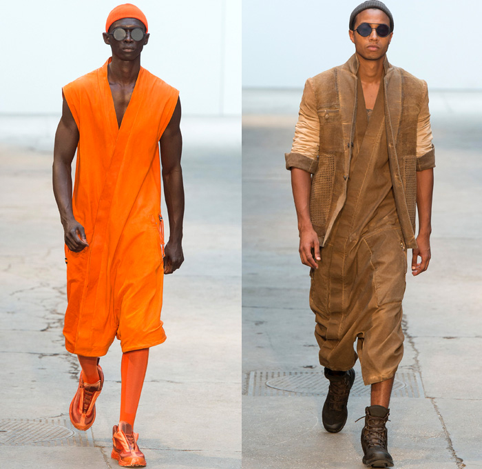 Boris Bidjan Saberi 2018 Spring Summer Mens Runway Catwalk Looks - Mode à Paris Fashion Week Mode Masculine France - Desert Nomad Dirty Canvas Outerwear Coat Drawstring Parka Sleeveless Vest Cropped Leather Jacket Chunky Knit Basketweave Crochet Sweater Jumper Pullover Crop Top Midriff Grosgrain Straps Shirtdress Long Sleeve Shirt Hood Sweatshirt Leggings Tights Androgyny Mandress Slouchy Pants Trousers Unitard Onesie Jumpsuit Coveralls Mesh Perforated Low Crotch Knit Cap Beanie Gloves Socks Trainers Boots Sunglasses Headband Harness Pouch Storage Sack Slingpack Holster Holster Bag Bright Orange Military Jungle Green