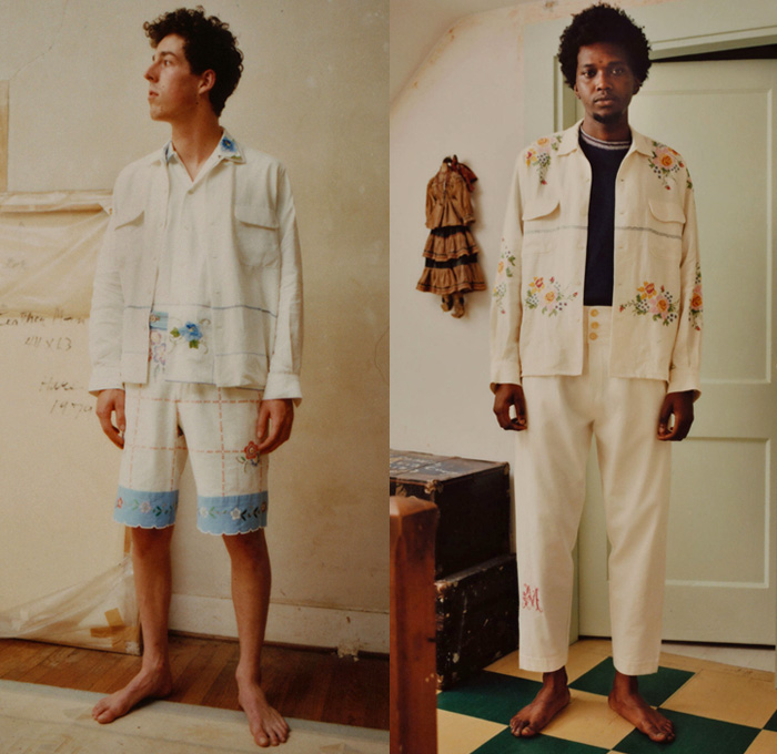 Bode 2018 Spring Summer Mens Lookbook Presentation - New York Fashion Week Mens - Nostalgic Patchwork 8-Pointed Star Octagram Stripes Quilt Mix Match Mash Up Outerwear Coat Jacket Buttoned Long Sleeve Shirt Flowers Floral Leaves Foliage Botanical Print Graphic Vintage Cleveland Milling Furry Cropped Pants Trousers Tuxedo Stripe Shorts Hat