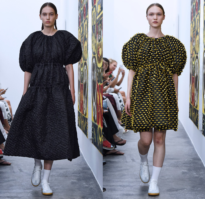 Cecilie Bahnsen 2018 Spring Summer Womens Runway Catwalk Looks - Copenhagen Fashion Week Denmark CPHFW - Leg O'Mutton Sleeves Bloated Bell Hem Crepe Embossed Engraved Peplum Pleats Quilted Waffle Puffer Tassels Fringes Embroidery Embellishments Adornments Decorated Appliqués Noodle Spaghetti Strap Baby Doll Dress Ruffles Ruche Sheer Chiffon Organza Tulle Mesh Fishnet Knot Ribbon Skirt Frock Wide Leg Trousers Palazzo Pants Culottes Shorts Socks Sneakers