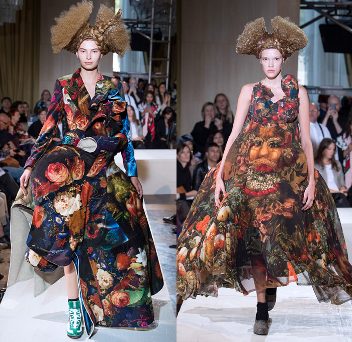 Comme des Garçons 2018 Spring Summer Womens Runway Catwalk Looks Rei Kawakubo - Mode à Paris Fashion Week Mode Féminin France - Arcimboldo Giuseppe Mannerist Artwork Paintings Vegetables Fruits Still Life Anime Manga Frankenstein Padded Shoulders Oversized Overcoat Multidimensional Graffiti Crinoline Ball Gown Eveningwear Patchwork Graffiti Ruffles Contoured Plastic Hair Braid Flowers Floral Adornments Decorated Bedazzled Jewels Necklace Beads Toys Hello Kitty Dolls Angel Wings Wool Computer Graphics Rags Ruffles Tulle Layers Athletic Boots