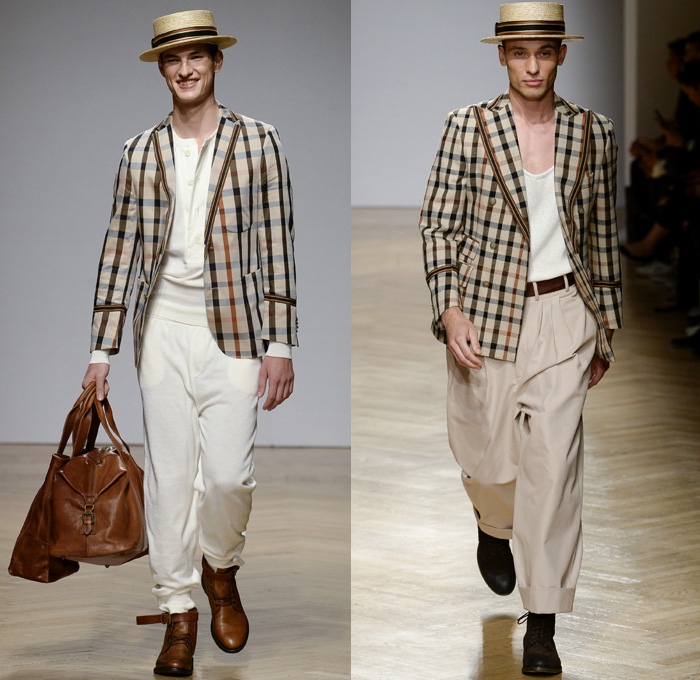 DAKS London 2018 Spring Summer Mens Runway Catwalk Looks - Milano Moda Uomo Collezione Milan Fashion Week Italy - 1920s Twenties Henley Royal Regatta Vintage Boater Hat Moustache Linen Dapper Heritage Double-Breasted Leather Jacket Turtleneck V-Neck Sweater Jumper Cargo Pockets Field Jacket Sleeveless Vest Waistcoat Stripes Plaid Check Grid Argyle Pinstripe Blazer Three-Piece Suit Lining Flat Front Wide Leg Trousers Baggy Loose Pants Slacks Cuffs Shorts Jogger Sweatpants Wingtip Brogues Oxfords Boots Necktie Emblem Patch Duffel Tote Handbag