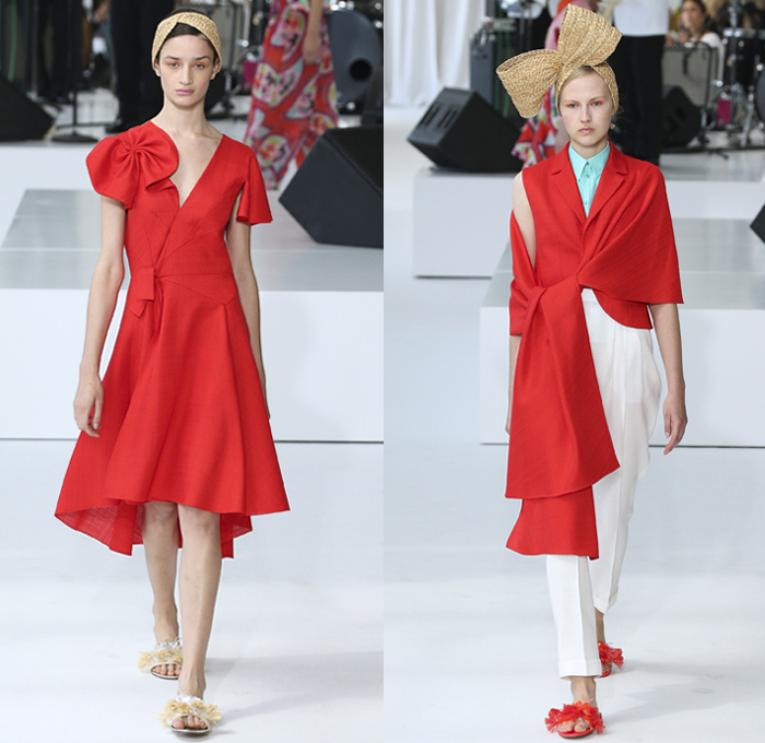 DELPOZO 2018 Spring Summer Womens Runway Catwalk Looks - New York Fashion Week NYFW - Outerwear Coatdress Blouse Noodle Strap One Shoulder Sweater Jumper Strapless Leg O'Mutton Sleeves Goddess Gown Eveningwear Fins Pants Dovetail Mullet Hem High-Low Tiered Brushstrokes Embroidery Appliqués Bedazzled Sequins Crystals Gemstones Ruffles Flowers Floral Paisley Sheer Chiffon Tulle Drapery Honeycomb Basketweave Headband Bow Ribbon Slippers Purse Clutch Bag