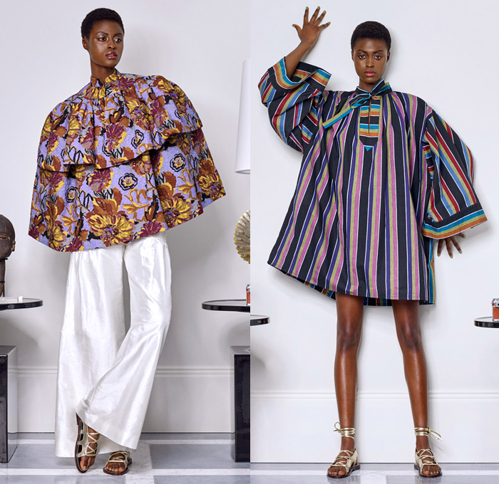 Duro Olowu 2018 Spring Summer Womens Lookbook Presentation - London Fashion Week Collections UK United Kingdom - Lee Miller Homage Mix Match Mash Up Flowers Floral Print Pattern Motif Stripes Decorative Art Geometric Ethnic Tribal Folk Ruffles Pockets Sheer Chiffon Organza Silk Satin Trench Coat Kimono Cape Jacket Blazer Tiered Shirtdress Bell Leg-of-Mutton Sleeves Blouse Pantsuit Wide Leg Trousers Palazzo Pants Maxi Dress Gown Gladiator Sandals Headwear Leaves Sunglasses Shades Cuffs Scarf