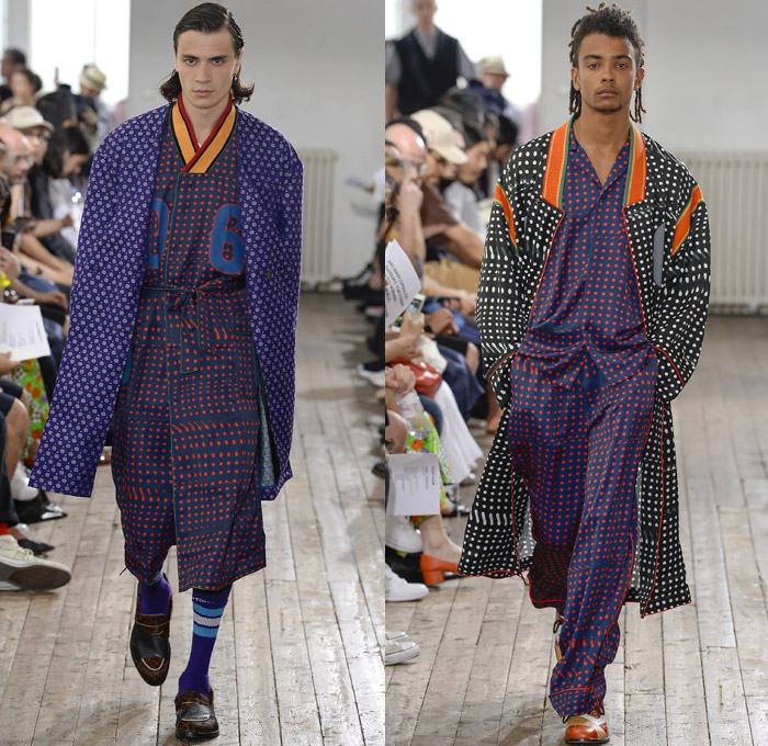 FACETASM by Hiromichi Ochiai 2018 Spring Summer Mens Runway Catwalk Looks - Mode à Paris Fashion Week Mode Masculine France - Outerwear Robe Tuxedo Coat Motorcycle Biker Rider Bomber Jacket Trackvest Cape Cloak Anorak Drawstring Mullet Hem Long Sleeve Shirtdress Onesie Jumpsuit Coveralls Sleepwear Pajamas Lounge Plaid Tartan Check Wrap Tie Up Knot Ribbon Ruffles Deconstructed Velvet Corduroy Polka Dots Snap Buttons Tearaway Pants Wide Leg Slouchy Baggy Loose Cargo Pockets Shorts Leggings Tights Socks Stripes Brogues Safety Pin Loafers Straps Belts