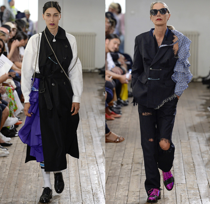 FACETASM by Hiromichi Ochiai 2018 Spring Summer Womens Runway Catwalk Looks - Mode à Paris Fashion Week Mode Masculine France - An Unconventional Harmony Created By Dissonance Deconstructed Layers Hearts Ruffles Dress Sheer Chiffon Organza Tulle Plaid Tartan Check Long Sleeve Blouse Shirt  Turtleneck Outerwear Trench Coat Parka Blazer Jacket Trenchblouse Velvet Straps Beads Embroidery Appliqués Bedazzled Sleepwear Pajamas Lounge Polka Dots Cutout Shoulders Frayed Raw Hem Destroyed Holes Hybrid Combo Panel Pantsuit Skirt Frock Leggings Socks Asymmetrical Hem Wide Leg Trousers Palazzo Pants Cargo Pockets PVC Vinyl Pleather Flower Lips Western Cowgirl Boots Brogues Pearls Necklace Loafers Headscarf Safety Pin