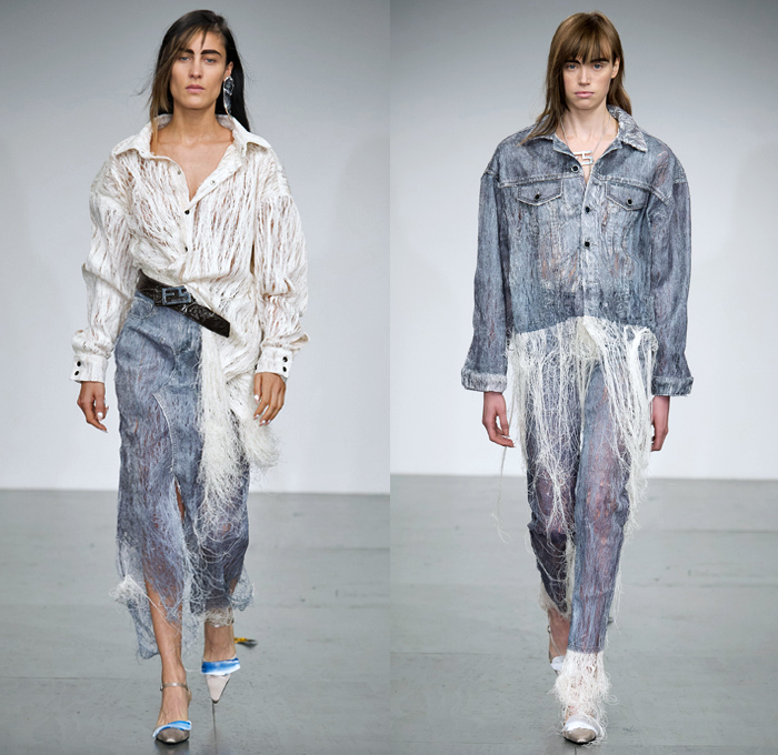 Faustine Steinmetz 2018 Spring Summer Womens Runway Catwalk Looks - London Fashion Week Collections UK - Denim Jeans Trucker Jacket Frayed Raw Hem Destroyed Ripped Tattered Cutout Threads Cobweb Mesh Steel Iron Wire Wool Sponge Cracks Metallic Paint Texture Brush Strokes Embroidery Patches Stitched Long Sleeve Shirt Noodle Spaghetti Strap Kaftan Drapery Skirt Sportswear Athleisure Track Pants Sheer Chiffon Tulle Silk Satin Flowers Floral Fanny Pack Waist Pouch Belt Micro Bag Purse Heels Pumps
