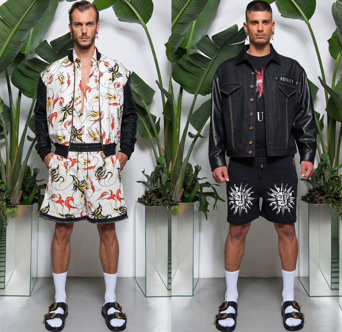 Fausto Puglisi 2018 Spring Summer Mens Lookbook Presentation - Milano Moda Uomo Collezione Milan Fashion Week Italy - Royalty Zeitgeist Greco-Roman Statues Denim Jeans Frayed Raw Hem Shorts Cutoffs Motorcycle Biker Rider Leather Jacket Sportswear Athleisure Gym Fitness Activewear Polo Shirt Hooded Sweatshirt Bomber Jacket Flowers Floral Orchid Botanical Print Embellished Adornments Decorated Bedazzled Metallic Studs Tie-dye Boxing Skateboard Socks Gladiator Sandals Necklace Sneakers