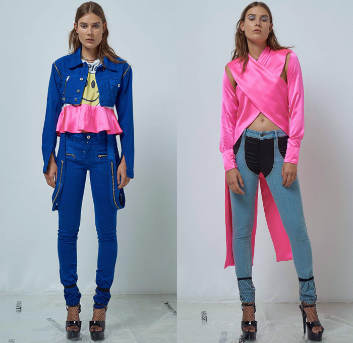 Filles à Papa 2018 Spring Summer Womens Lookbook Presentation - Mode à Paris Fashion Week France - Exotica Tropical Palm Trees Fishnet Bikini Silk Satin Wrap Peplum Ruffles Cutout Shoulders Plaid Check Dress Bedazzled Sequins Miniskirt Knit Sweater One Shoulder Low V-Neck Sweaterdress Cross Twist Halterneck Knot Robe Motorcycle Biker Jacket Snap Buttons Tearaway Pants Denim Jeans Trucker Railroad Stripes Zippers Cropped Hybrid Vest Cutoffs Shorts Unitard Leotard Stiletto Hat Cap Slip-Ons Boots