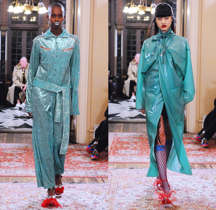 Growing Pains 2018 Spring Summer Womens Runway Catwalk Looks - Amazon Fashion Week Tokyo Japan AmazonFWT - Moga Trench Coat Rainwear PVC Plastic Leg O'Mutton Sleeves Cutout Shoulders Bib Armor Bustier Harness Knot Ribbon Pussycat Bow Motorcycle Biker Jacket Feathers Velvet Racing Check Drawstring Straps Lace Flowers Floral Satin Polka Dots Sequins Ruffles Sweater Onesie Jumpsuit Qipao Dress Skirt Wide Leg Palazzo Pants Trackpants Mesh Fishnet Choker Opera Gloves Wide Brim Floppy Hat Purse