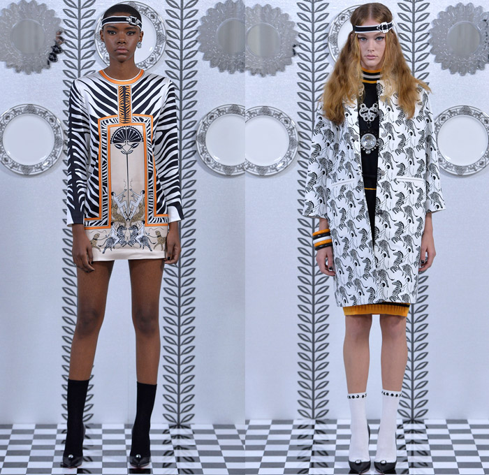 Holly Fulton 2018 Spring Summer Womens Lookbook Presentation - London Fashion Week Collections UK United Kingdom - Liquid Silk Godiva Dress Art Deco Kaleidoscope Mirror Image Ornamental Print Decorative Art Leaves Foliage Olive Branch Silk Satin Animal Zebra Stripes Leopard Cheetah Sunrays Jungle Racing Check Illustration Outerwear Coat Turtleneck Knitwear Sweater Jumper Cardigan Trackshirt Zipper Skirt Frock Pleats Dress Pants Trousers Retro Headband Necklace Bangles Handbag Micro Bag