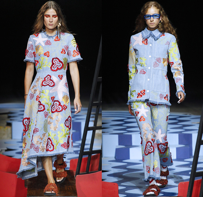 House of Holland 2018 Spring Summer Womens Runway Catwalk Looks - London Fashion Week Collections UK United Kingdom - Pirate Dreamy Power Waves Curves Stripes Mesh Velvet Fringes Beads Knit Crochet Weave Jacket Noodle Strap Dress Gown One Shoulder Crop Top Midriff Blouse Wide Leg Herringbone Denim Jeans Frayed Raw Hem Destroyed Embroidery Starfish Seaweed Sealife Coral Scarf Pirate Hat Sunglasses Socks Sandals Socks Fanny Pack Waist Pouch Belt Bag