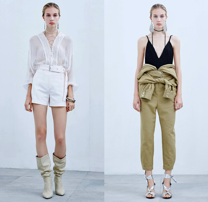 IRO Paris 2018 Spring Summer Womens Lookbook Presentation - Mode à Paris Fashion Week Mode Féminin France - Denim Jeans Shorts Cutoffs Frayed Raw Hem Destroyed Faded Paper Bag Waist Miniskirt Hybrid Combo Panel Jacket Knit Ribbed Bouclé Weave Blazer Long Sleeve Blouse Shirt Tunic Bralette Abstract Tribal Snakeskin Print Tie Up Waist Noodle Strap One Shoulder Sheer Chiffon Organza Lace Needlework Ruffles Embroidery Bedazzled Sequins Lace Up Drawstring Zebra Stripes Pants Trousers Curved Hem Dress Leather Thigh High Boots Straps Heels Pumps Necklace Earrings Bangles
