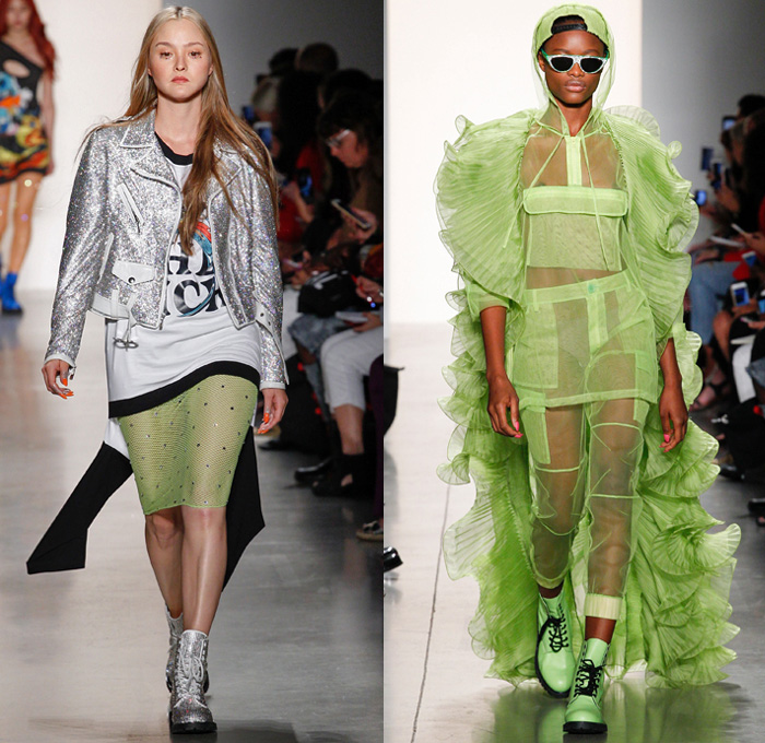 Jeremy Scott 2018 Spring Summer Womens Runway Catwalk Looks - New York Fashion Week NYFW - Paranoia Alien Rings Cartoons Denim Jeans Destroyed Holes Motorcycle Leather Biker Jacket Lace Up Armor Shirtdress Sweaterdress Neon Mesh Fishnet Chain Crop Top Midriff Camouflage Sweatshirt Gemstones Bedazzled Jewels Sequins Metallic Sheer Tulle Cones Ruffles Straps Knot Waist One Shoulder Bodycon Dress Hotpants Gladiator Boots Knee Pads Patches Tights Snakeskin Handbag Tote Barrel Bag Backpack Choker