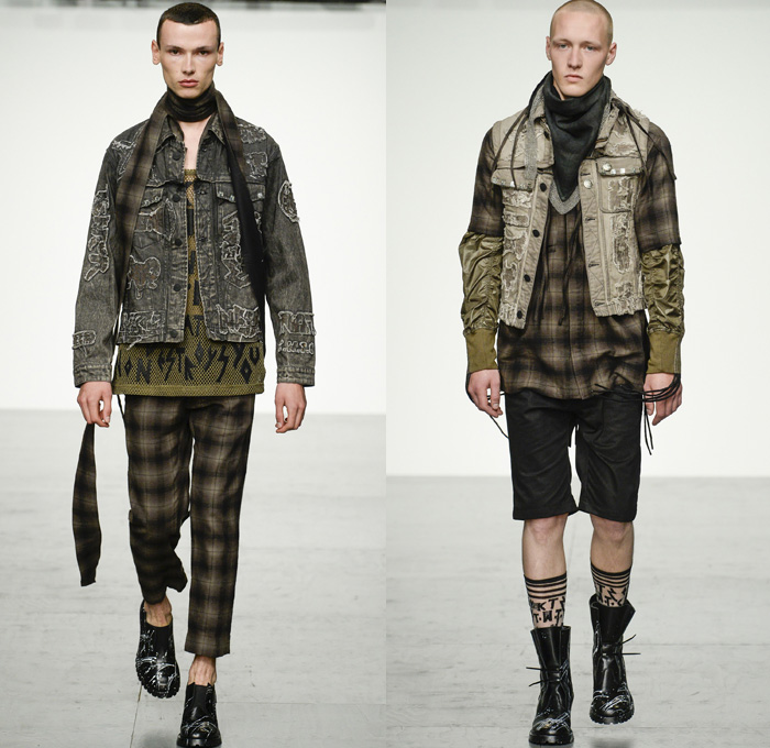 KTZ 2018 Spring Summer Mens Runway Catwalk Looks Marjan Pejoski - London Fashion Week Mens British Fashion Council UK United Kingdom - Stapled Chainmail Chainlink Soda Can Tabs Runes Lettering Plaid Tartan Check Mesh Fishnet Cinch Drawstring Fringes Decorated Appliqués Bedazzled Hardware Metal Clips Denim Jeans Frayed Raw Hem Distressed Vintage Emblems Patches Sleeveless Vest Waistcoat Gilet Motorcycle Biker Rider Moto Vest Hood Sweatshirt Long Sleeve Shirt Outerwear Blazer Bomber Jacket Trench Closures Buttons Quilted Waffle Puffer Parka Coat Poncho Pants Trousers Shorts Cargo Pockets Scarf Paint Splatter Leather Boots Stocking Socks Gloves Cap Streetwear