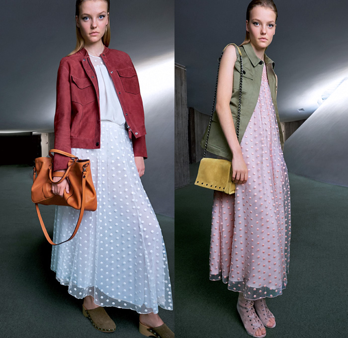 Longchamp 2018 Spring Summer Womens Lookbook Presentation - Mode à Paris Fashion Week Mode Féminin France - Art Deco Geometric Prism Polygon Outerwear Trench Coat Shawl Suede Safari Jacket Vest Waistcoat Cargo Pockets Paillettes Decorated Fringes Stripes Long Sleeve Blouse Shirt Silk Satin Tassels Zigzag Sheer Chiffon Tulle Polka Dots Denim Jeans Dress Miniskirt Shorts Lace Up Gladiator Boots Peep Open Toe Clogs Espadrilles Sandals Gold Metallic Sunglasses Shades Wide Strap Handbag Weave