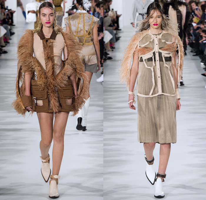Maison Margiela 2018 Spring Summer Womens Runway Catwalk Looks - Mode à Paris Fashion Week Mode Féminin France - Ostrich Feathers Airport Luggage Airline Tags Plane Tickets Deconstructed Cutout Metallic Sheen Gold Bronze Stripes Plaid Tartan Check Flowers Floral Leaves Foliage Bedazzled Jewels Pearls Accordion Pleats Fringes Knot Bow Trench Coat Shirtdress Knitwear Bralette Sheer Chiffon Flapper Speakeasy Cowgirl Boots Pointed Shoes Swimming Cap Fishnet Colored Sunglasses Handbag