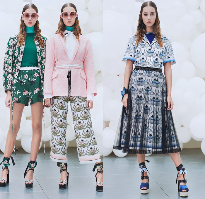 Markus Lupfer 2018 Spring Summer Womens Lookbook Presentation - London Fashion Week Collections UK United Kingdom - Retro Jacket Cardigan Vest Knit Sweater Turtleneck Long Sleeve Blouse Shirt Sheer Chiffon Organza Palm Trees Monkeys Forest Flowers Floral Leaves Foliage Chevron Stripes Plaid Tartan Check Layers Embroidery Decorated Appliqués Bedazzled Lace Dress Skirt Frock Tutu Hotpants Drawstring Shorts Wide Leg Trousers Palazzo Pants Rainbow Bird Parrot Heels Pumps Arm Band Ribbon Turban Headwear Sunglasses Dangling Earrings