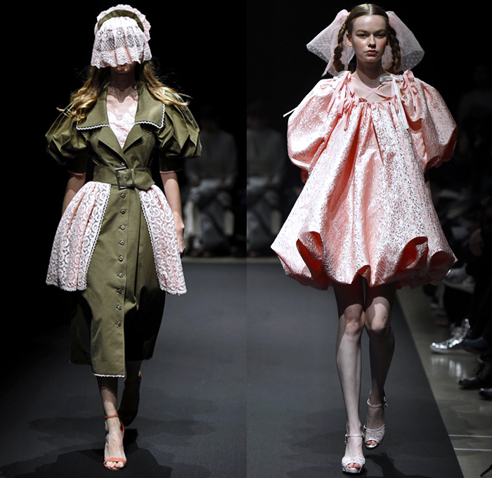 Memuse 2018 Spring Summer Womens Runway Catwalk Looks Risa Aizawa - Amazon Fashion Week Tokyo Japan AmazonFWT - Denim Petals Jean Panels Vest Trench Coat Mesh Fishnet Ruffles Belts Straps Brocade Jacquard Leg O'Mutton Sleeves Sheer Tulle Wires Lace Teddy Bear Plush Toys Geometric Prism Metallic Foil Silk Satin Flowers Floral Moon Crescent Ribbons Maid Apron Check Serpentine Tentacles Rope Weave Braid Doily Accordion Pleats Babydoll Dress Miniskirt Shorts Asymmetrical Hem Hat Boots Veil