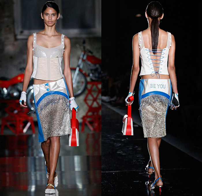 Mietis 2018 Spring Summer Womens Runway Catwalk Looks - 080 Barcelona Fashion Catalonia Catalan Spain Designer Maria Fontanellas Boix - 1920s Twenties 1960s Sixties Cosmic Cinderella Futuristic Metallic Silver Fantasy Motorcycle Biker Rider Leather Racer Jacket Panels Panels Racing Check Lace Embroidery Needlework Leg O'Mutton Bloated Sleeves Cap Sleeve Embroidery Bedazzled Sequins Fringes Beads Zipper Sheer Chiffon Organza Stripes Lace Up Flapper Speakeasy Crop Top Midriff Strapless Open Shoulders Sleeveless Dress Miniskirt Cutoffs Shorts Hotpants Handbag Knee High Boots Gloves Fishnet Stockings