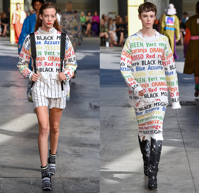 MSGM by Massimo Giorgetti 2018 Spring Summer Womens Runway Catwalk Looks - Milano Moda Donna Collezione Milan Fashion Week Italy - Denim Jeans Bootcut Flare Paint Splatter Ombre Cargo Pockets Vest Trench Coat Parka Knit Jumper Pullover Sweaterdress Shirtdress One Shoulder Leg O'Mutton Sleeves Silk Satin Panel Tie-Dye Colors Lace Lasercut Ruffles Butterfly Shoulders PVC Vinyl Plaid Tartan Check Sequins Wide Leg Palazzo Pants Skirt Dress Tiered Backpack Boots Wrapped Shoes Bucket Hat Tote Sack