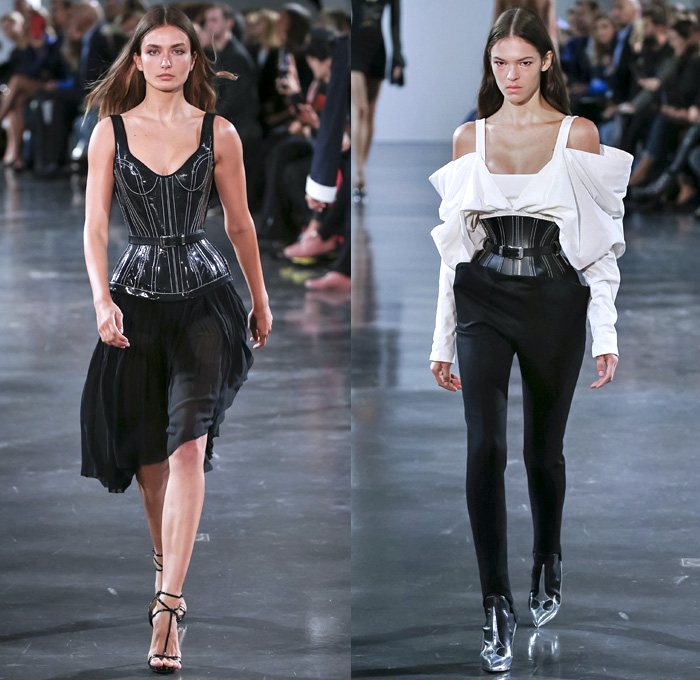 Mugler 2018 Spring Summer Womens Runway Catwalk Looks - Mode à Paris Fashion Week Mode Féminin France - Les Pétroleuses Spaghetti Western Corset Blazer Jean Jacket Denim Trousers Wide Butterfly Pockets Miniskirt Sheer Chiffon Tulle Goddess Gown Cutout Shoulders Mirrors Decorated Appliqués Bedazzled Halterneck Crop Top Midriff Bralette Blouse Strapless Playsuit Onesie Swimsuit Shorts Whipcord Cowgirl Boots Heels Pumps Lace Up Drawstring Tiles