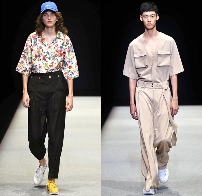 Munsoo Kwon Supported By Giorgio Armani 2018 Spring Summer Mens Runway Catwalk Looks - Milano Moda Uomo Collezione Milan Fashion Week Italy - Oversized Frankenstein Football High Shoulders Outerwear Coat Parka Anorak Windbreaker Hood Poncho Cloak Transparent Rainwear Bomber Jacket Nylon Suit Blazer Railroad Stripes Sweater Jumper Flowers Floral Print Drawstring Crop Top Midriff Colorblock Sportswear Athleisure Activewear Tracksuit Jersey Cargo Pockets Denim Jeans Cropped Pants Wide Leg Trousers Camouflage Shorts Mismatch Sneakers Baseball Cap