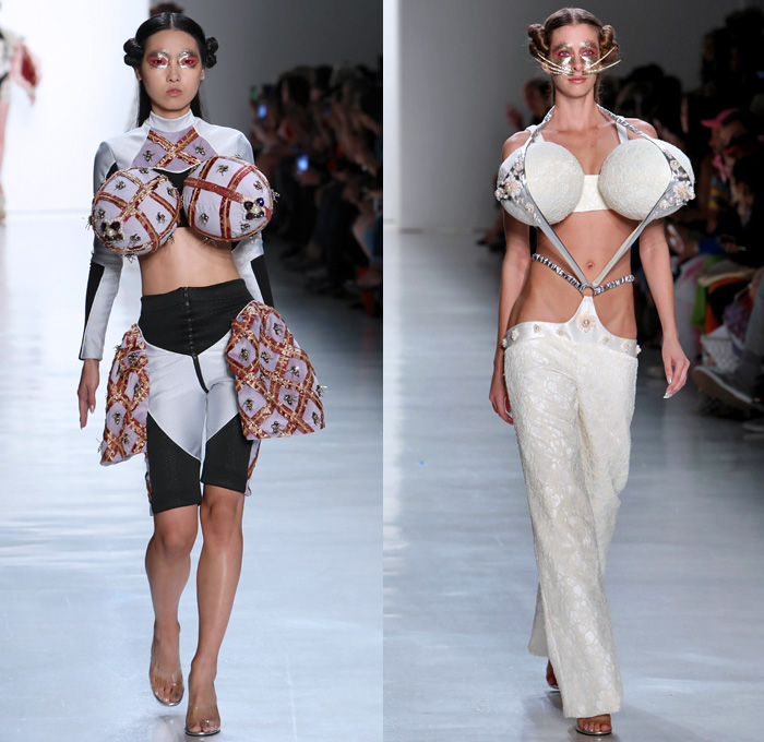 Namilia 2018 Spring Summer Womens Runway Catwalk Looks - New York Fashion Week NYFW - The Indiscreet Jewels Asian Renaissance Vagina Pussy Motif Octopus Arms Oversized Balls Breasts Mermaid Tail Dress Gown Eveningwear Masquerade Crinoline Ruffles One Shoulder Bell Sleeves Bikini Bralette Embroidery Appliqués Bedazzled Pearls Bees Shorts Mesh Straps Jacquard Sheer Chiffon Tulle Lace Up Cutout Waist Drapery Silk Satin Pinstripe Silver Flowers Floral Cape Fringes Blazer Headwear Colored Sunglasses