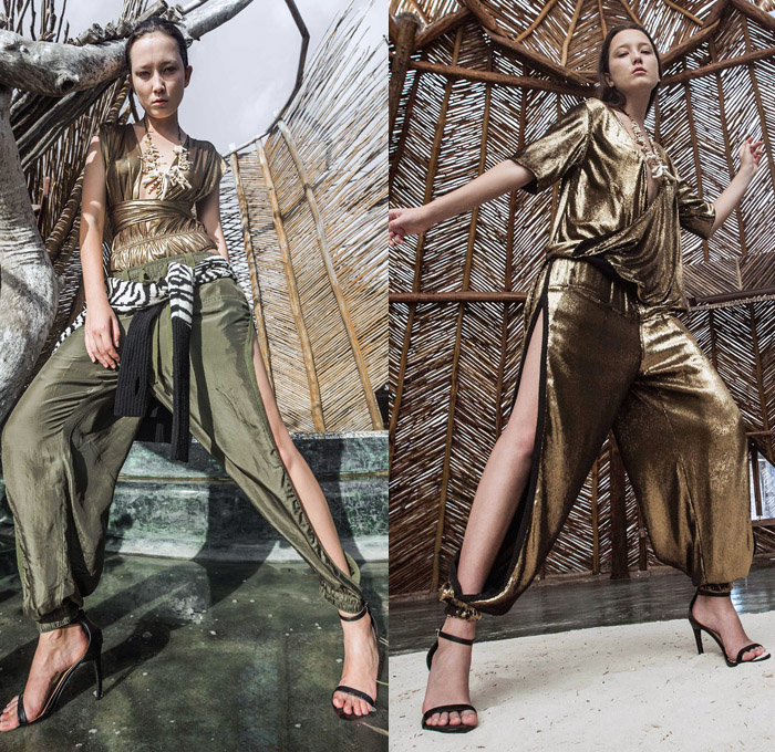 Nicholas K 2018 Spring Summer Womens Lookbook Presentation - New York Fashion Week NYFW - Azulik Tulum Mexico Organic Cotton Linen Zebra Animal Stripes Jungle Tie Up Waist Knot Silk Sheen Metallic Gold Military Green Wrap Around Outerwear Trench Coat Motorcycle Biker Jacket Shirtdress Caftan Knit Sweater Long Sleeve Blouse Drapery Nylon Camouflage Maxi Dress Slit Hem Moto Pants Cargo Pockets Low Crotch Shorts Mullet Hem Necklace Tribal Pumps Heels Visor Neck Flap Sandals Beret