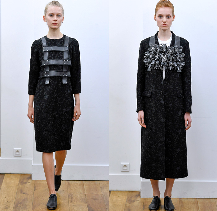 Noir Kei Ninomiya 2018 Spring Summer Womens Lookbook Presentation - Mode à Paris Fashion Week Mode Féminin France - Dimensional Structural Organic Shape Sculpture PVC Vinyl Gauze Mesh Harness Knit Sweater Weave Belts Straps Accordion Pleats Leg O'Mutton Sleeves Satin Mesh Lattice Grommets Mockneck Decorative Art Vines Embroidery Foliage Coat Motorcycle Biker Jacket Decorated 3D Flowers Sheer Chiffon Tulle Tutu Honeycomb Ruffles Strapless Dress Blouse Skirt Black White Shower Cap