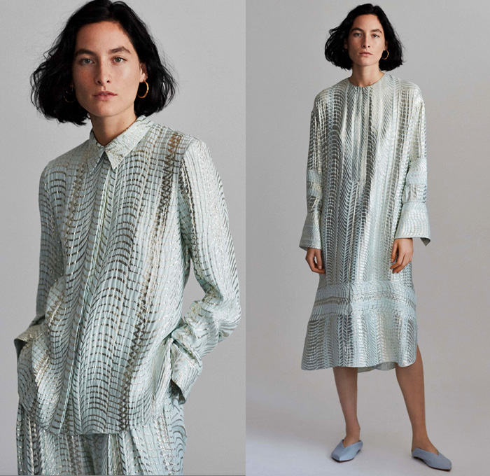 Nellie Partow 2018 Spring Summer Womens Lookbook Presentation - New York Fashion Week NYFW - Soft Tailoring Sleepwear Pajamas Loungewear Long Sleeve Blouse Shirt Tunic Silk Shirtdress Caftan Chunky Knit Sweater Jumper Outerwear Robe Coat Perforated Holes Pantsuit Tie Up Waist Pleats Slouchy Wide Leg Trousers Palazzo Pants Maxi Dress Brocade Jacquard Contrast Stitching Minimalist