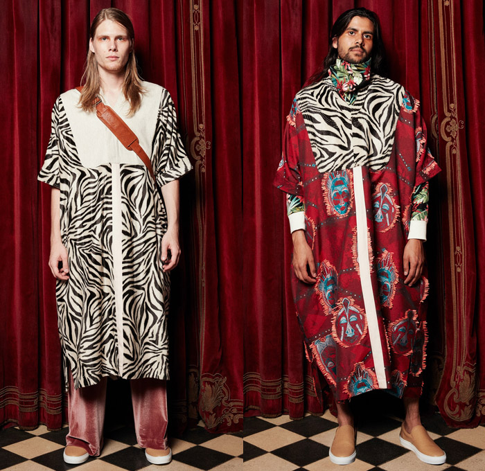 Palmiers du Mal 2018 Spring Summer Mens Lookbook Presentation - New York Fashion Week Mens - South African Masks Folk Ethnic Tribal Safari Animal Stripes Zebra Jungle Shirtdress Kaftan Sleepwear Pajamas Lounge Velvet Fleece Drawstring Frayed Raw Hem Dalmatian Spots Tropical Palm Leaves Fauna Foliage Flowers Floral Botanical Print Graphic Motif Outerwear Capelet Long Sleeve Buttoned Shirt Robe Tuxedo Jacket Pants Trousers Jogger Sweatpants Sandals Slippers Sneakers Bucket Bag