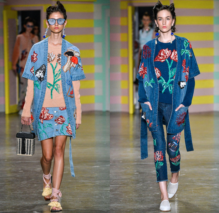 PatBo by Patricia Bonaldi 2018 Summer Womens Runway Catwalk Looks - São Paulo Fashion Week N44 Verão 2018 Brasil Southern Hemisphere Moda Desfiles - 1920s Twenties Beach Denim Jeans Robe Kimono Wrap Patches Tulips Flowers Floral Mushrooms Butterflies Birds Flying Fish Embroidery Coatdress Bomber Jacket Sweatshirt Sweater Fringes Tie Up Knot Ribbon Cross Halterneck Mesh Knit Crochet Lace Maxi Dress Gown Eveningwear Peplum One Shoulder Noodle Strap Velvet Jogger Sweatpants Plaid Check Stripes Satin Crop Top Pointed Shoulders Ruffles Swimsuit Bikini Top Boxy Canteen Handbag Sandals Wide Brim Hat Umbrella