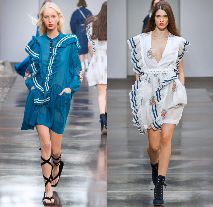 Philosophy Di Lorenzo Serafini 2018 Spring Summer Womens Runway Catwalk Looks - Milano Moda Donna Milan Fashion Week Italy - 1980s Tina Chow Flowers Floral Lace Sheer Tulle Ruffles Stripes Blouse Tweed Quilted Field Jacket Kimono Robe Onesie Jumpsuit Coveralls Bib Brace Dungarees Romper Swamp Pants Obi Sash Tie Up Waist Knot Cargo Pockets Shorts Sailor Collar Miniskirt Shirtdress Snap Buttons Tearaway Knit Cardigan Sweater Maxi Dress Pantsuit Studded Belt Gladiator Sandals Military Buckle Boots