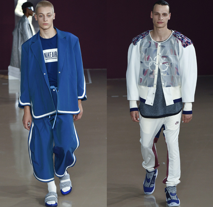 Pigalle 2018 Spring Summer Mens Runway Catwalk Looks - Mode à Paris Fashion Week Mode Masculine France - Nikelab Collab Exoskeleton Cage Wireframe Hexagon Futuristic Scultpural 3D Shape Sportswear Athleisure Gym Fitness Activewear Tracksuit Metallic Sheen Rope Winged Sides Baggy Loose Slouchy Embroidery Bedazzled Chain Logo Sheer Chiffon Organza Mesh Fishnet Nylon Tweed Folds Feathers Plastic Outerwear Jacket Blazer Overcoat Quilted Waffle Puffer Hanging Sleeve Robe Cloak Poncho Hood Sweatshirt MC Hammer Pants Jogger Sweatpants Shorts Snap Buttons Tearaway Pants Dolphin Hem Socks Sandals Trainers